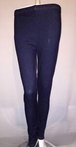 Womens Stretchy Denim Look Skinny Jeggings Leggings free size