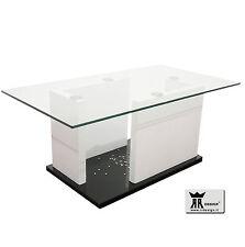 Tavolino RR design moderno salotto soggiorno laccato nero e bianco con vetro!!