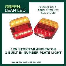 PAIR SQUARE TRAILER TAIL STOP INDICATOR LIGHTS LED LAMP  NUMBER PLATE 99ARL2