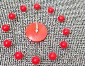 Vintage,Retro Red Karlsson Spider Star Burst Ball Clock,Rare,tested,Quartz