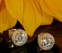 2.01ct Round Cut Beautiful Solitaire Diamond Stud Earrings Yellow Gold Over