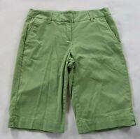 New York & Co Womens Stretch Pastel Green Bermuda Khaki Manhattan Chino Shorts 6