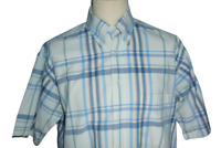 Gant Mens Short Sleeve Blue white Newport Poplin Check Button Down Shirt UK L