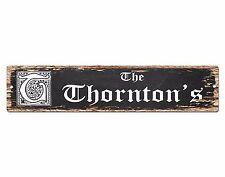 SPFN0347 The THORNTON'S Family Name Street Chic Sign Home Decor Gift Ideas
