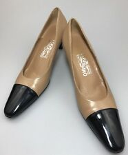 Salvatore Ferragamo Tan & Black Classic Cap Toe Pumps Size 7.5 AAA Wear To Work