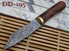 """10""""Long hand forged Twist pattern Damascus steel hunting Knife Rose wood round"""