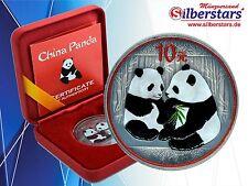 10 Yuan Silber China Panda 2009 Antique Finish Color Edition in Box und CoA