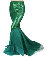 Women Ladies Fancy Dress Sequin Mermaid Scale Tail Skirt Fairytale Ariel Costume