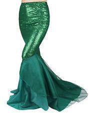 Sexy Mermaid Ladies Fancy Dress Deep Sea Sequins Maxi Dress Tail Skirt Costume L