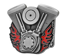 V-Twin Motorcycle Engine Belt Buckle with Flames