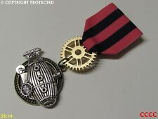 silver airship zeppelin flying submarine Steampunk badge brooch pindrape Medal