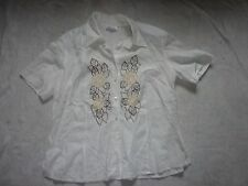 "GERRY WEBER SIZE 20/45"" WHITE EMBROIDERED FLORAL LINEN BLOUSE"