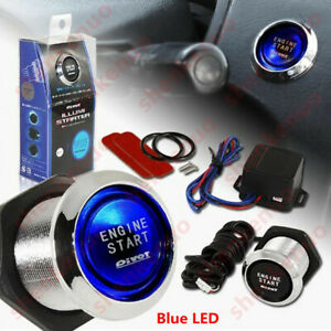 12V Car Keyless Engine Ignition Power Switch Button Blue LED Light Universal