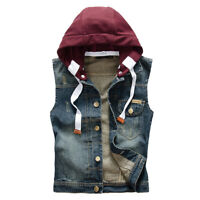 Men's Denim Vest Coat Jacket Waistcoat Sleeveless Slim Removable Cap Size Plus