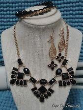 Vintage To Now Fashion Jewelry Set    Gold tone Black
