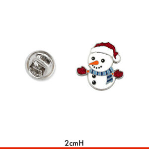 SNOWMAN ENAMEL PIN Christmas Costume Jewellery Badge Stocking Fillers Party Gift