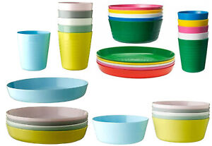 IKEA Kalas Kids Multicolour Plastic Bowls Cups Plates Cutlery Set or Individual