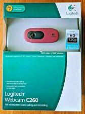 NEW - Logitech Webcam C260 Widescreen Video Calling Recording Messenger - PINK