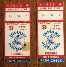 RARE 1977 Toronto Blue Jays Lot of 2 Ticket Stubs 1st season vs Indians