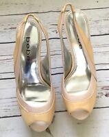 Bebe Women's Sling Back Open Peep Toe  Pink Yellow SZ 6M Platform Shoes Heels