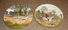 "2* Vintage  Cauldon England  FOX HUNT Hand-Painted  Plates 10 1/2"" Wide LOOK !!!"