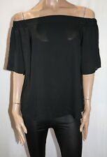BOOHOO Brand Black Chiffon Mia Off Shoulder Top Size 10 BNWT #TF71