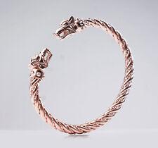 Fenrir (rose gold) - Viking bracelet with wolf heads - silver skull bracelet