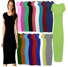 Womens Midi Dress Ladies Plain Short Cap Sleeve Bodycon Maxi Midi Dress