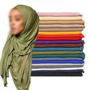 Women's Ladies Stretch Jersey Hijab Scarf Soft Breathable Scarves 170*60cm Scarf