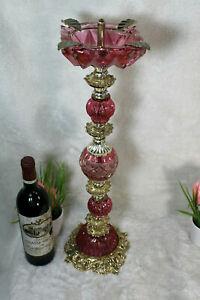 Vintage bohemia pink glass Standing ashtray 1970 rare