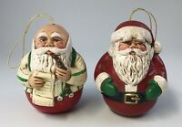 Santa ball ornaments Ceramic Christmas decoration Lot Of 2