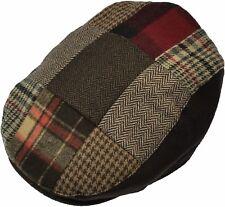 Men's Patch Driving Cap Plaid Newsboy Wool Gatsby  Flat Hat Cabbie Herringbone