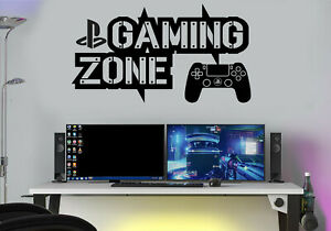 Gaming Zone Wall Stickers Decals PS Gamer Controller Wall Art Kid 4 Gamer Room