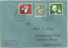 GERMANY, 1956 COVER, GOOD STAMPS TO ENGLAND.