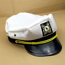 Unisex Yacht Captain Skipper Sailor Boat Ship Hat Cap Costume Party White New