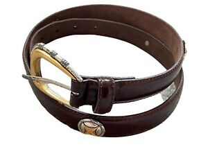 """Fossil leather 1"""" wide belt womens large brown gold silver buckle hardware"""