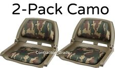 2-Pack Folding Padded Boat Seats in Woodland Camo Duck Hunting Bass Fishing Seat