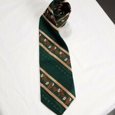 Vtg mens necktie union made green floral abstract art deco tie Acwa menswear