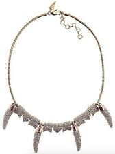 REBECCA MINKOFF ROSE GOLD PLATED CRYTAL PAVE HORN NECKLACE