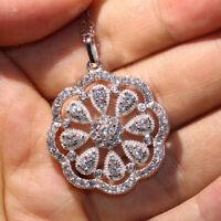 2.50 Ct Round Cut Diamond Floral Halo Pendant Necklace 14k White Gold Finish