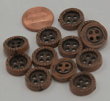 Lot of 12 Brown PLASTIC Buttons Wood Grain Look 5/8