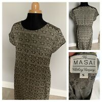 Masai Clothing Company Khaki Green Floral Tunic Smock Dress Size Small Lagenlook