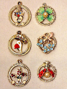 Vintage Silver Child Themed Charms Lot of 6 Retro 1950s Mid-Century Bracelet