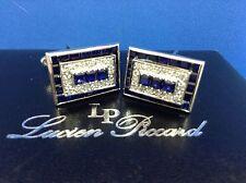 LUCIEN PICCARD STUNNING DIAMOND SAPPHIRE LARGE GORGEOUS CUFFLINKS 14K WHT GOLD