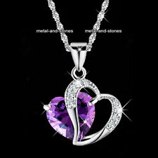 Love Purple Amethyst Heart Necklace Romantic Present Xmas Gift For Her Wife Lady