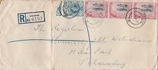 DB77) Swaziland 1957 long registered cover Emlembe to Jo'burg