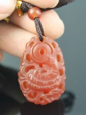 Delicately Carved Carnelian Vivid Snake King Cobra Amulet Pendant -w string cord
