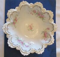 "Vintage MZ Austria New Hasburg Porcelain Pink Floral Ornate White Bowl 10.5"""