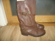 Brown Leather Biker Style Boots by Faith size 6