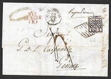 Vatican covers 1864 folded receipt Civitavecchia to Genova VIA DI MARE(E)